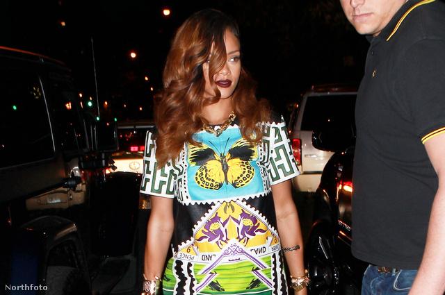 Rihanna a Da Silvano's nevű étterembe indul teljes harci díszben