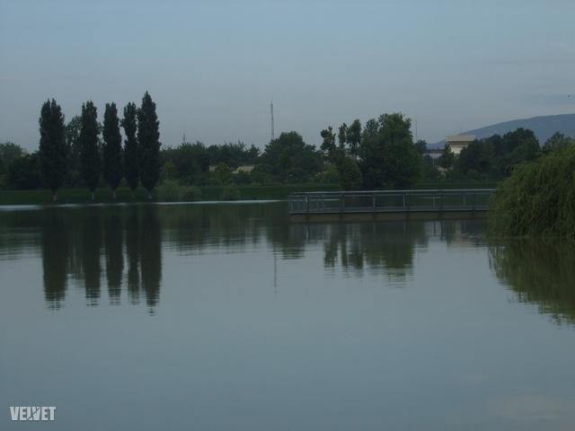 A háttérben a móló, ami normál esetben magasan a víz fölött áll.