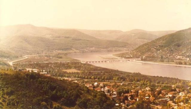 Nagymarosi vízlépcső látványterve Visegrád felől