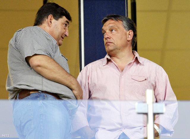 Mészáros Lőrinc és Orbán Viktor egy Videoton mérkőzésen