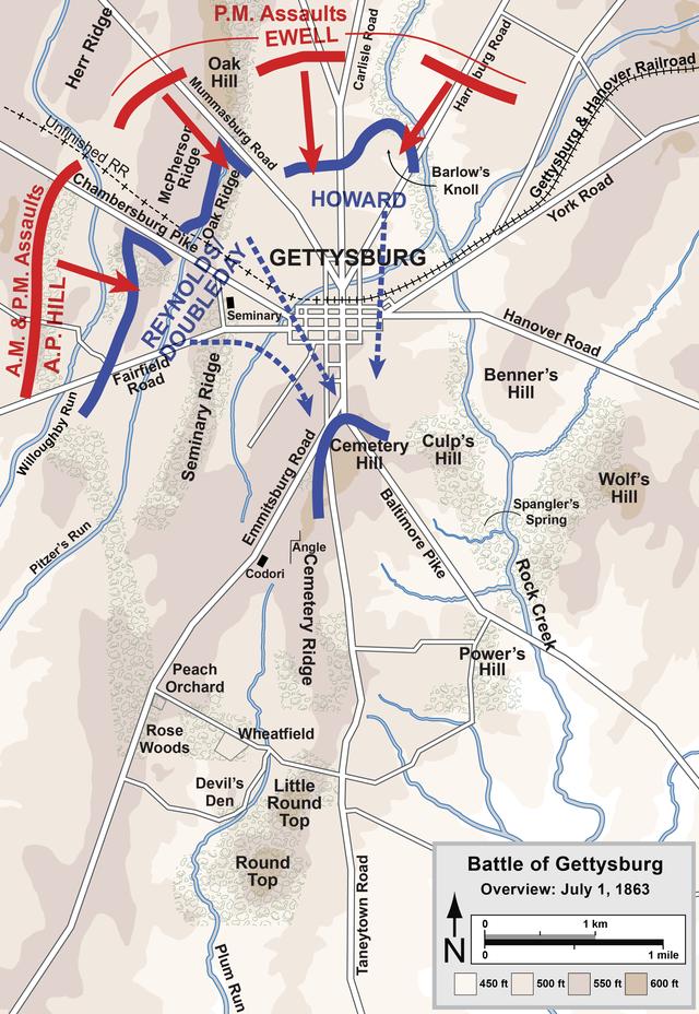 A csata első napjának térképe