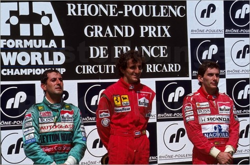 1990, Francia GP, Magny-Cours: 1. Prost, 2. Capelli, 3. Senna
