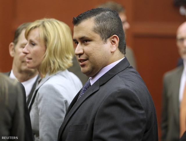 Az emberöléssel vádolt George Zimmerman perének ítélethirdetése után a Floridai Sanford bíróságán 2013. július 13-án.