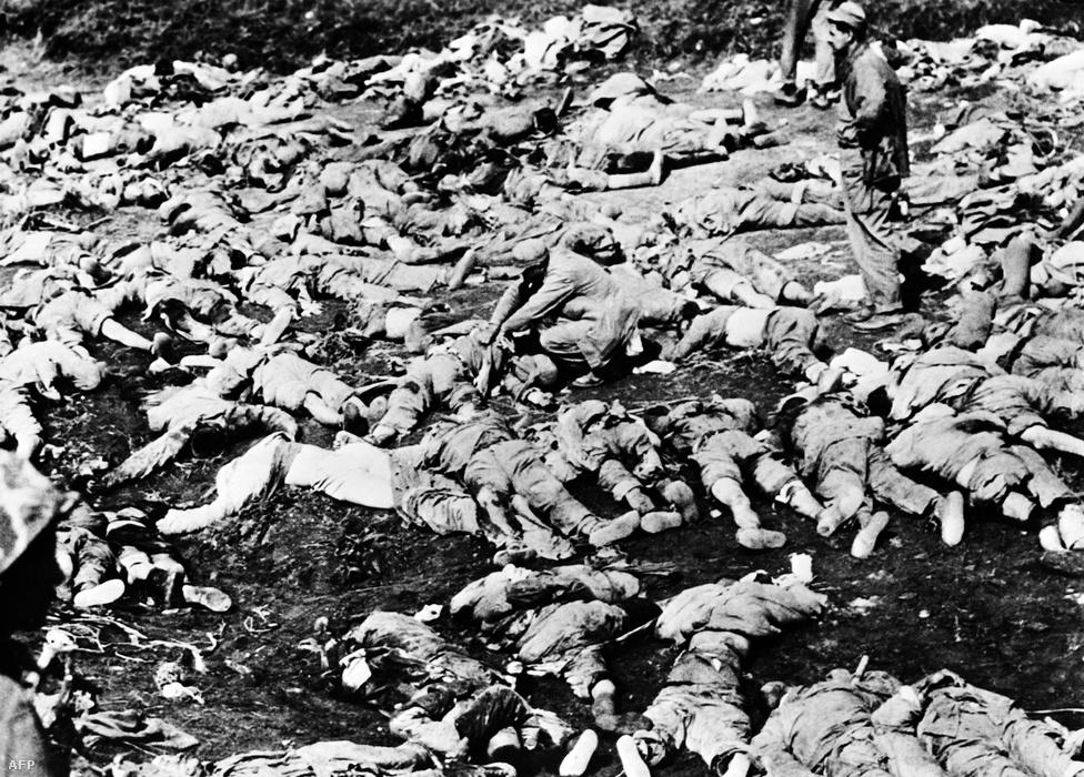 1951. május, halottak a csatatéren a kínai beavatkozást végérvényesen visszaverő Line Kansas-i csata után. A kínai néphadsereg 700 ezer katonával avatkozott be a háborúba, de az amerikaiak Szöultól északra egy ellentámadással megállították őket.