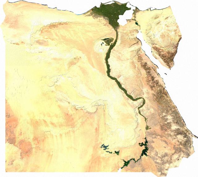 Egyiptom domborzata, vizei és a lakható/művelhető terület eloszlása