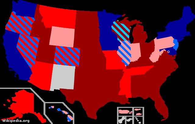 Melegházasság az Egyesült Államokban, vörössel a tiltás, sötétkékkel az engedélyezés.