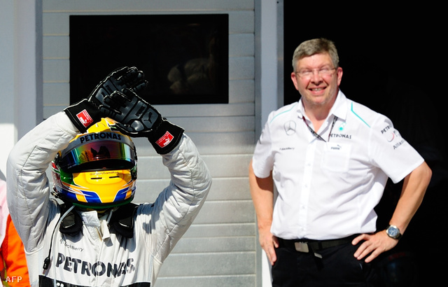 Hamilton és Brawn a Hungaroringen