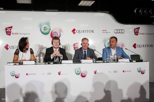 Czechmeister Mónika, az Audi Hungária kommunikációs igazgatója, Achim Heinfling, az Audi Hungaria motorgyártásért felelős ügyvezető igazgatója, Karl-Heinz Rummenigge legendás német labdarúgó, az FC Bayern München elnöke és Tarsoly Csaba és Tarsoly Csaba, a Győri ETO FC elnöke.