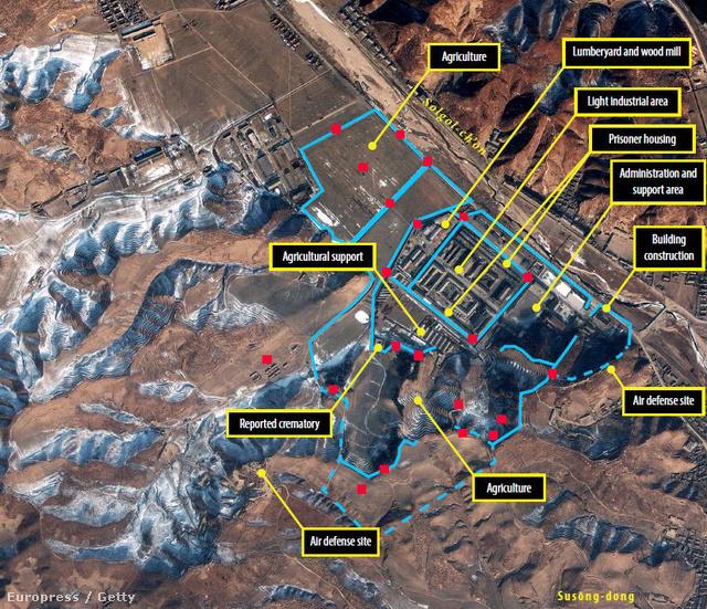 Műholdfotó a 25-ös számú észak-koreai munkatáborról