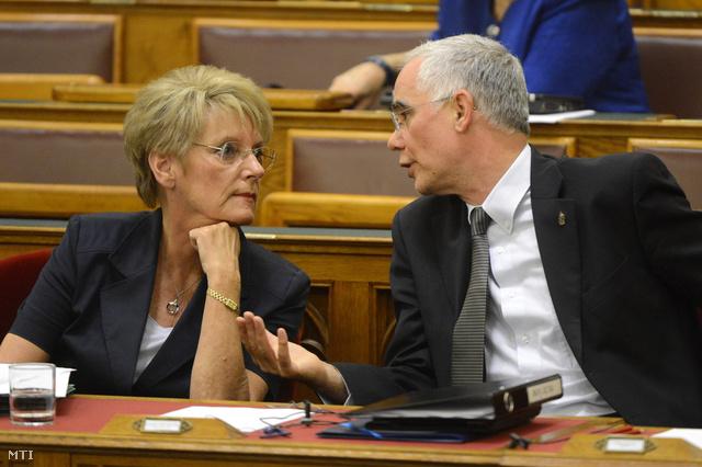 Hoffmann Rózsa köznevelési államtitkár és Balog Zoltán emberierőforrás-miniszter a köznevelésről szóló törvény módosításáról szóló törvényjavaslat vitáján az Országgyűlés rendkívüli ülésén 2013. augusztus 26-án.
