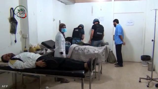 ENSZ megfigyelők egy damaszkuszi kórházban