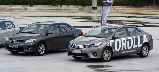Sikerült összefotózni az előző Corollával: az új hosszabb, nagyobb tengelytávú, de fél centivel alacsonyabb. És csak 0,27 az alaktényezője, 0,29 helyett