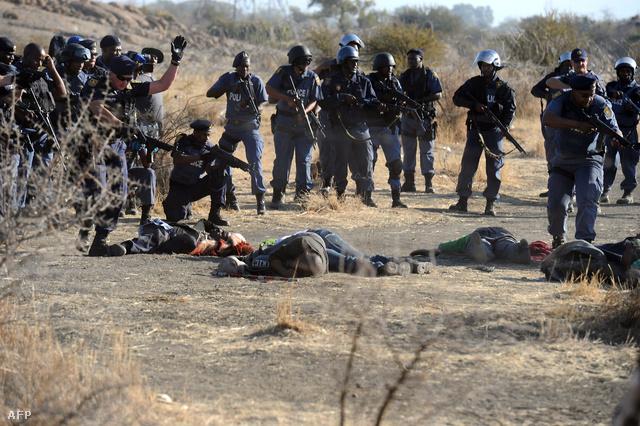 Holttestek hevernek a dél-afrikai Rustenburg közelében lévő marikanai Lonmin platinabánya közelében 2012. augusztus 16-án.