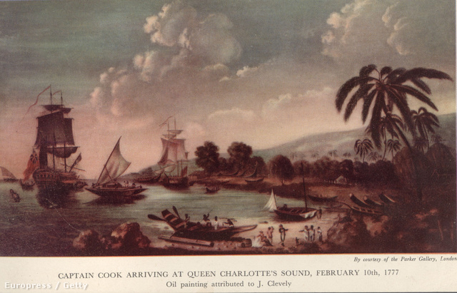 James Cook meghódítja Új-Zélandot. Egy festmény a londoni Parker Galériából