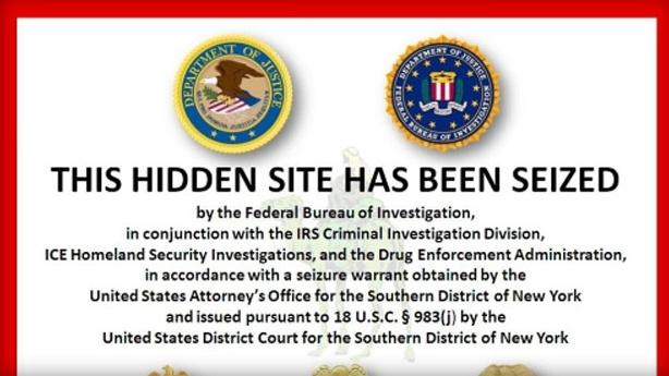Az FBI figyelmeztető szövege a lefoglalt oldal helyén