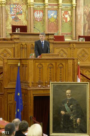 Kövér László, az Országgyűlés elnöke beszédet mond a Gróf Bethlen István és kora című konferencián