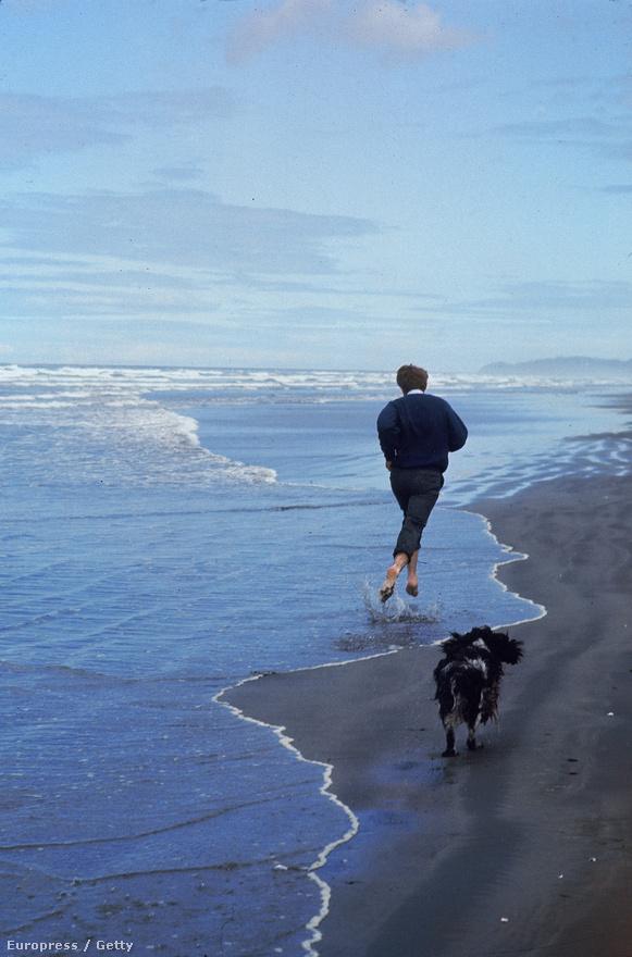 Bobby Kennedy és kutyája futnak a parton, 1968.