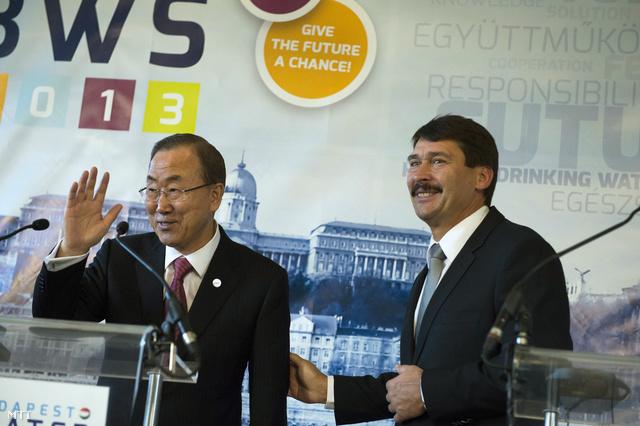 Ban Ki Mun ENSZ-főtitkár és Áder János