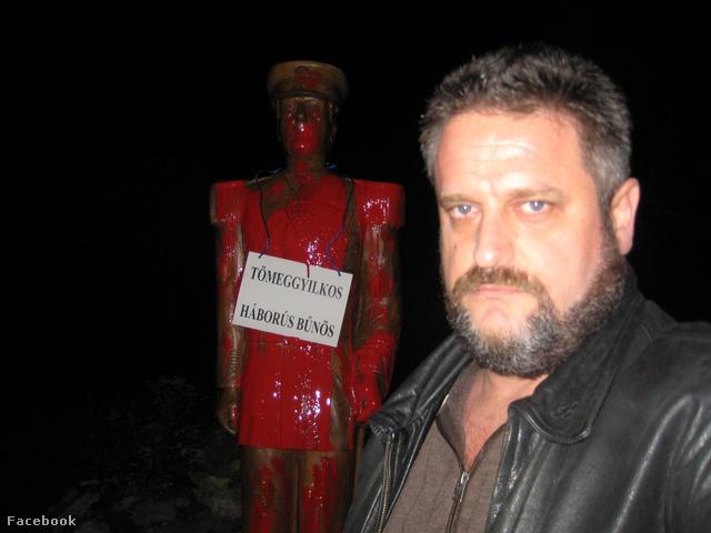 Dániel Péter és a leöntött Horthy-szobor