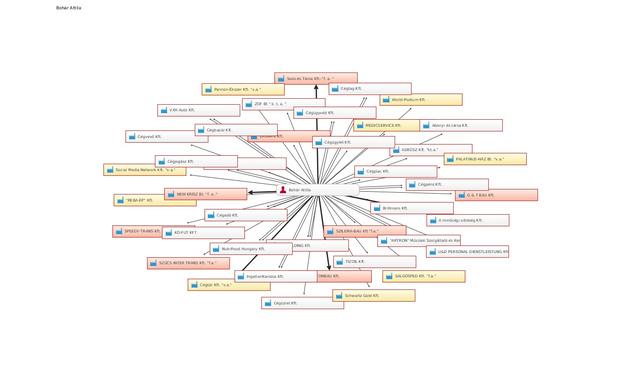 A legkönnyebben lekérhető elsődleges kapcsolatok is bonyolultabb képet mutatnak. Forrás: Céginfo.hu