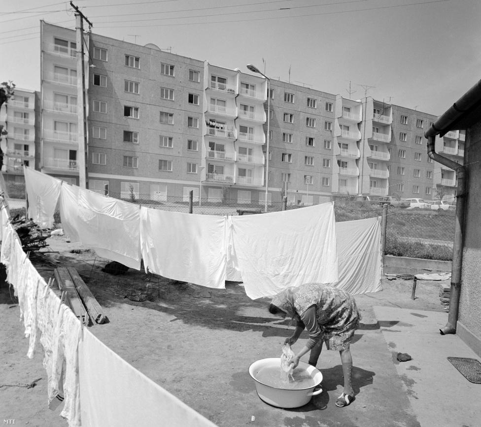 """1977. május. Mosott ruhákat tereget egy asszony a paksi atomerőmű dolgozóinak épült új lakótelep szomszédságában. A nagyközség 10 ezres lakossága húsz év alatt megkétszereződött. Paks 1979-ben kapott ismét városi címet. (Ezt még 1871-ben vesztette el, a mezővárosi rang megszüntetésével.)                         Új gondolat volt, hogy az építőmunkásokat nem barakkokban helyezik el, hanem már ők is új panelházakba költözhettek, amelyek később az üzemeltetőknek adtak otthont. Több mint kétezer lakás épült így. Az új panelházakhoz kapcsolódik az úgynevezett """"tulipános vita"""" is: néhány panelházat vörös-fehér ívelt mintákkal díszítettek. """"Az egész ország szürkében lakik, miért legyenek a paksiak különbek? Mi lesz, ha mindenki ilyet akar?"""" - kérdezte az akkori építésügyi miniszter, leállítva a kezdeményezést."""