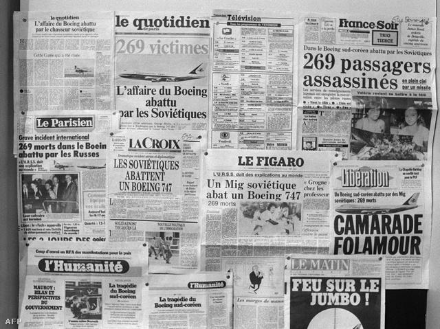 1983. szeptember 1. – a napilapok vezető hírben foglalkoztak a tragédiával