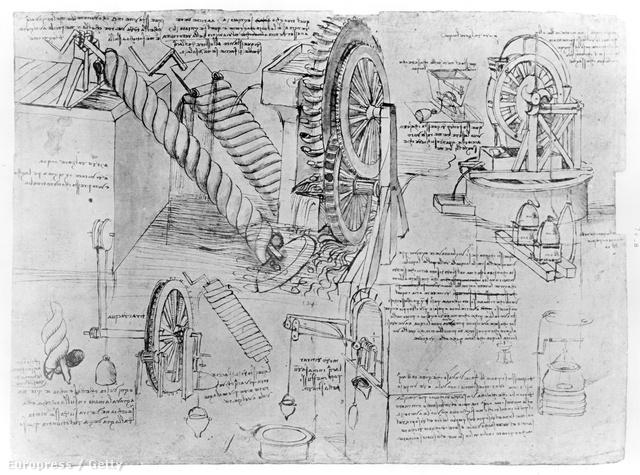 Egy lap Leonardo Da Vinci jegyzetfüzetéből
