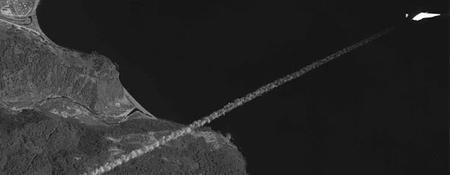 A rakétaindítás a WorldView-1 műhold szemével
