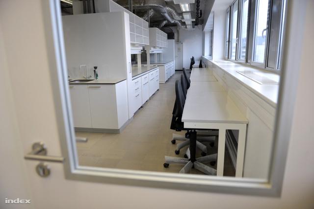 A laborokba sima asztalok is kerültek, mivel ma már nem ritka, hogy interneten irodai munkát végeznek a kutatók az üresjáratokban