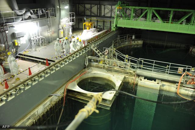 Az erőmű pihentető medencéjének szakértői vizsgálata a fűtőelemek kiemelését megelőzően, 2013. november 13-án.