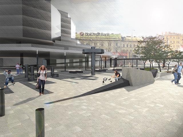Az áruház előtti tér a TÉR_KÖZ pályázatra beadott nyertes látványterven