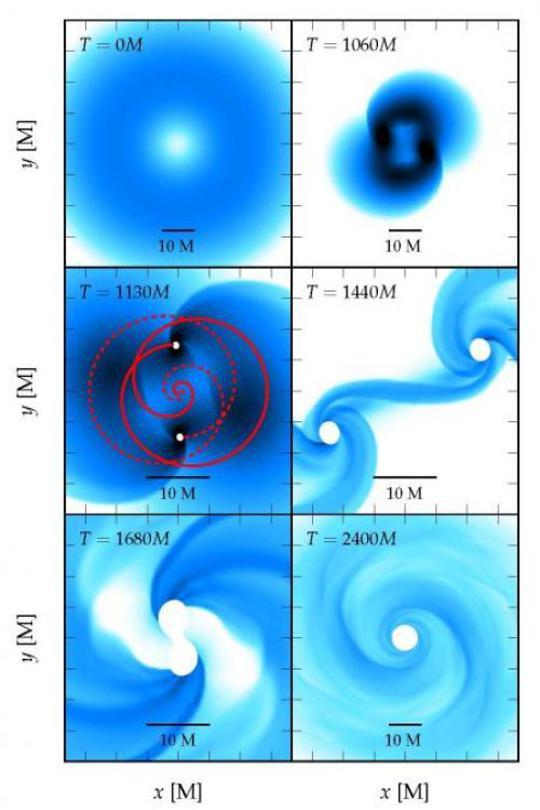 Egy szupernagy tömegű csillag kollapszusának és fragmentációjának különböző fázisai Reisswig és munkatársai szuperszámítógépes szimulációinak alapján. Mindegyik panel a csillag egyenlítői síkjában mutatja a sűrűségeloszlást. A gyorsan forgó objektum végzete két, végül összeolvadó fekete lyuk kialakulása.