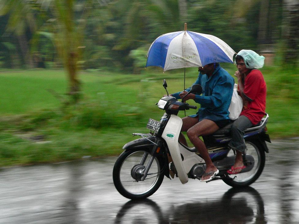 A legelterjedtebb járműtípus természetesen Balin is a robogó, mindenféle évjáratban, márkában és állapotban. Amint az Ázsiában megszokott, gyakran egész családok utaznak egyetlen kismotoron, és a többnyire Indonéziában gyártott kis kétkerekűek a fuvarozásból is kiveszik a részüket. Motorra nem kell jogosítvány, és autóra sincs képzés, vizsga: a vezetői engedélyt a rendőrségen egyszerűen meg lehet vásárolni. A motorozás a decembertől márciusig tartó esős évszakban is szinte zavartalanul folyik, hiszen munkába járni, ügyeket intézni akkor is kell. Ha nagyon szakad, félreállnak rövid időre, vagy különféle, általában kevéssé hatékony módszerekkel védekeznek a bőséges záporok ellen, hiszen huszonöt-harmincöt fog melegben az elázás sem jelent különösebb problémát