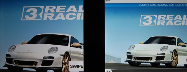Ez már egy másik sport, a pixelek és élsimítások küzdelme.Real Racing 3, balra az iPad Minin, jobbra a Nexus 7-en