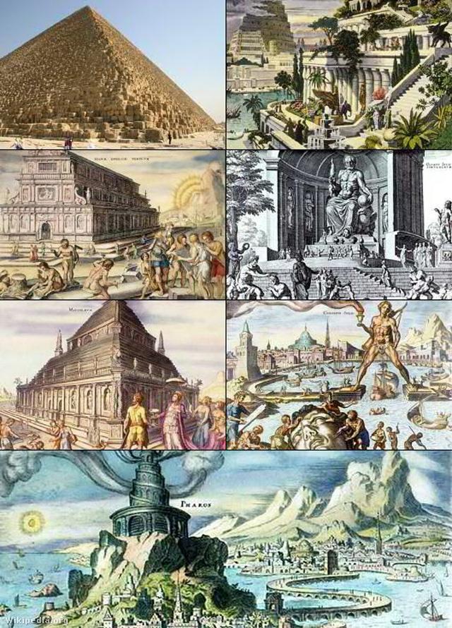 Az ókori világ hét csodája, föntről jobbról indulva: Gízai piramisok, Szemiramisz függőkertje, Artemisz-temploma, Zeusz-szobra, Halikarnasszoszi mauzóleum, rodoszi kolosszus, pharoszi világítótorony