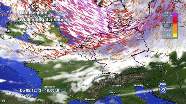 A Német Időjárástani Intézet által közreadott kép a december 5-i előrejelzéséről amelyen az orkán helyi idő szerint az esti órákban érkezik meg Észak-Németország fölé.