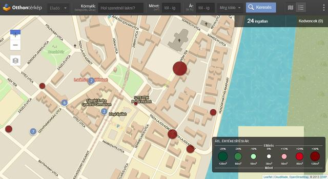 A térkép közepén a kis pont egy 16 méteres lakást jelöl, a Dóm téren a nagy egy 241 négyzetméterest (a képre kattintva megnézhetők). A színük arra utal, hogy mindkettő drágább a szegedi átlagnál