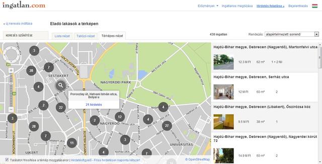 A nagyító jelzi, hogy az ingatlan.com térképén három közeli utcát összevonva jelöl a kör