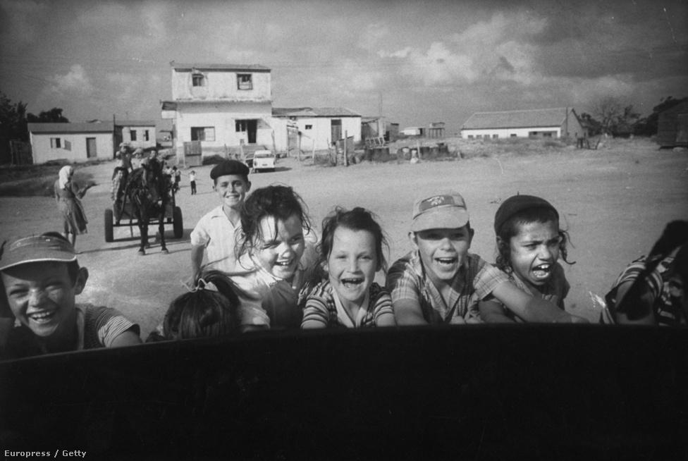 Schutzer már a tragikus végkimenetelű hatnapos háború előtt is gyakran fotózott Izraelben, a zsidó hagyományok és az egyszerű mindennapok egyaránt érdekelték.  Ez a kép a játszó izraeli gyerekekről 1960-ban készült.