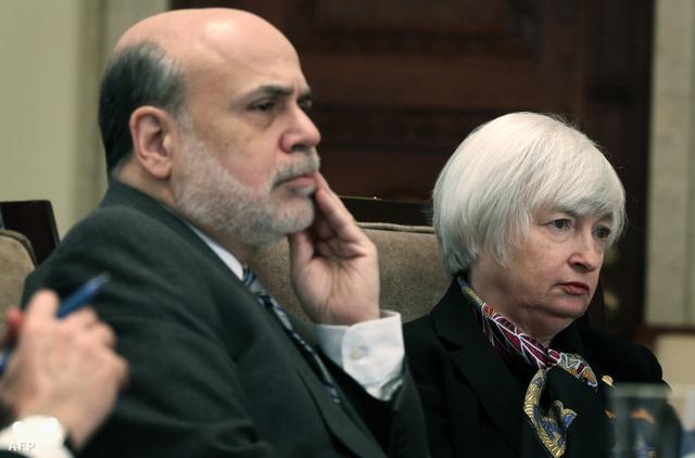 Ben Bernanke, a Fed leköszönő elnöke és Janet Yellen.