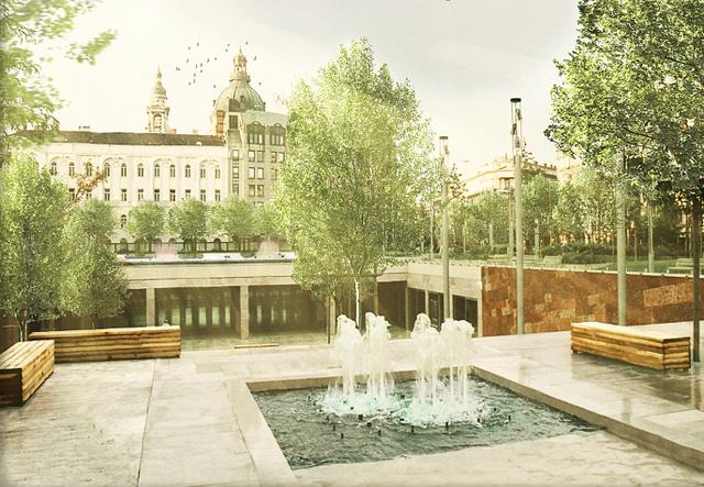 Az Erzsébet tér felújításának látványterve