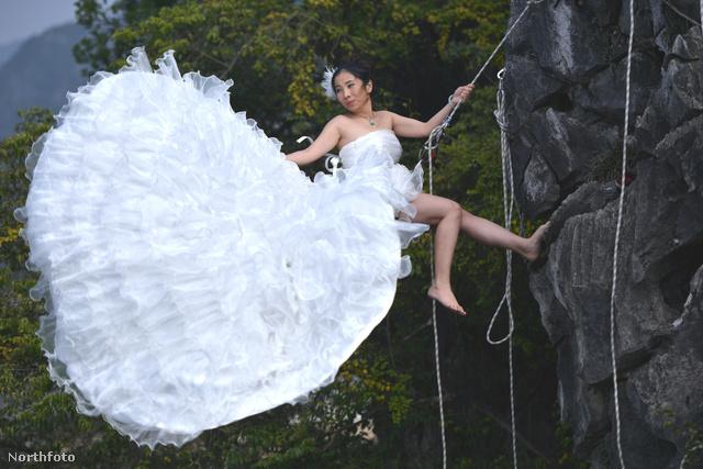 Látványos fotók a menyasszonyról