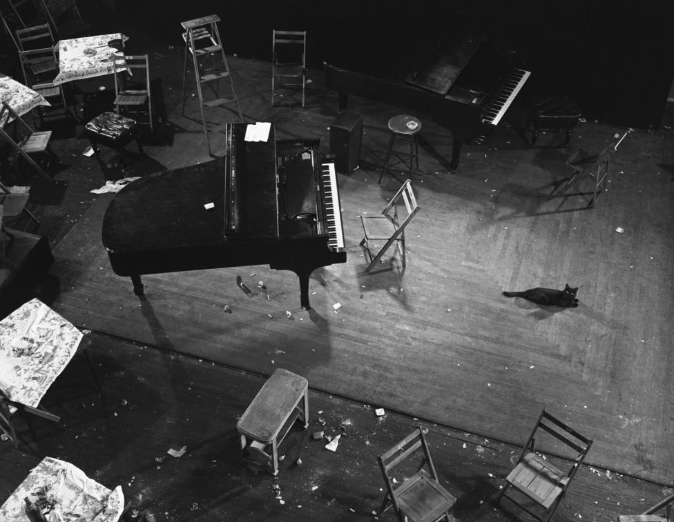 Gjon Mili partijaiban megfordult Duke Ellington, Billie Holiday és Dizzy Gillespie is, de reggelre már csak cigarettacsikkek és üvegszilánkok őrizték a buli emlékét. Na meg persze a fekete cica szemrehányó tekintete.