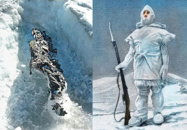 Balra egy nemrég felszínre került holttest, jobbra az olasz katonák téli álcaruhája