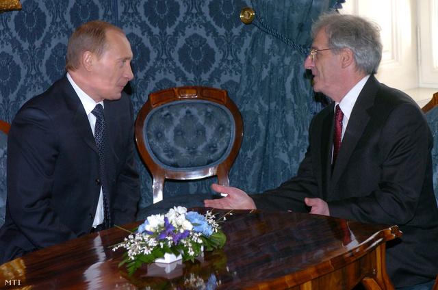Vlagyimir Putyin és Sólyom László 2006-ban Budapesten