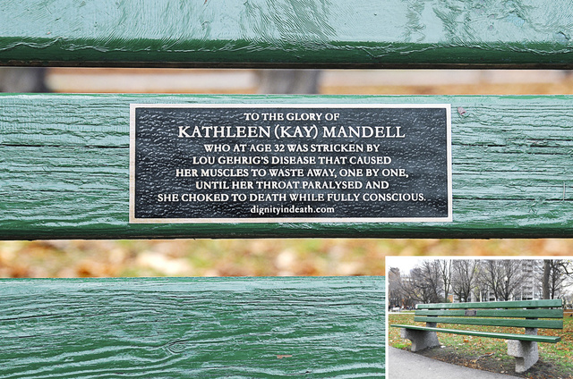 """""""Kathleen Mandell emlékére, akit 32 éves korában megtámadott a Lou Gehrig-betegség. Izmai egyesével sorvadtak el, amíg le nem bénult a torka, és meg nem fulladt, miközben teljesen tudatánál volt."""""""