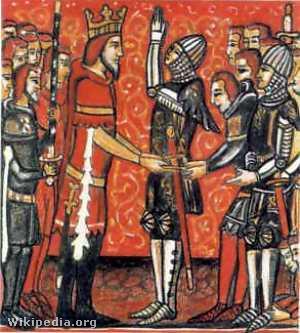 Roland felesküszik Károly királynak