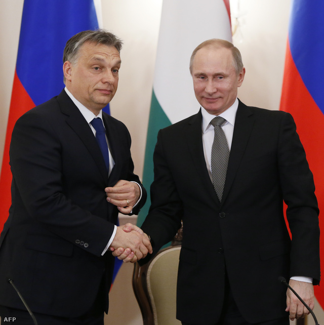 Orbán Viktor és Vlagyimir Putyin Moszkvában, 2014. január 14-én.