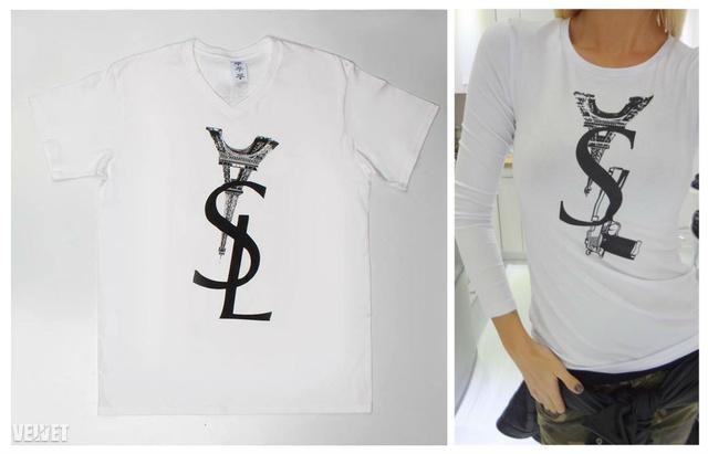 Balra a Paradise Store pólója, jobbra Dukai Regina Sugarbird kollekciójának egyik darabja