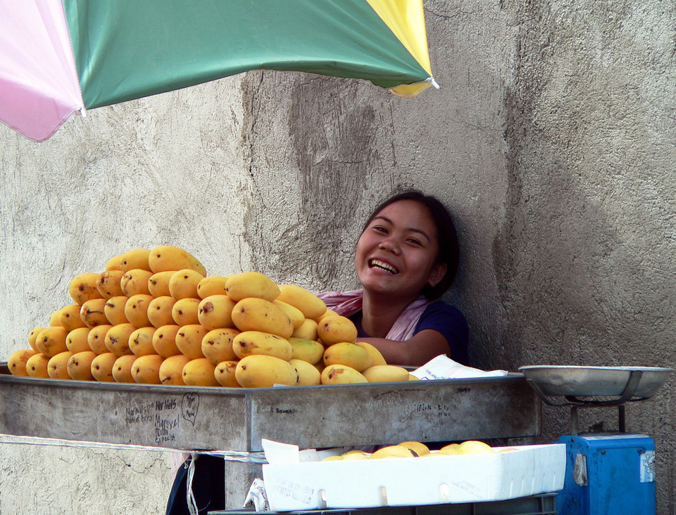 Mangóárus lány Ceby City egyik mellékutcájában. A mangó kétségkívül a mennyországból pottyant alá a Földre – szubjektív, de határozott meggyőződésem, hogy a világ legjobb gyümölcse, a mangódzsúsz pedig a világ legfinomabb itala. A gyümölcsrajongók közmegegyezése szerint a mangók között a Fülöp-szigeteki viszi el a pálmát, ez a legzamatosabb. Ez már csak azért is érdekes, mert nem őshonos itt, spanyol közvetítéssel jutott el Ázsiába a karibi szigetvilágból. A mangónál már csak a mangóárus lány mosolya édesebb. Ha arra járunk, kóstoljuk meg a többi egzotikus gyümölcsöt, a papaját, a rambutánt, a jackfruitot is. A szélsőségesen megosztó durián csak a perverz ínyenceknek való, de nekik nagyon. Sok helyen ki van tiltva a tömegközlekedési eszközökről és a szállodákból, mert penetráns bűzt áraszt. A húsának állaga olyan, mint az elázott szappané, az íze viszont fantasztikus. A duriánt vagy imádja valaki, vagy utálja, középút nincs.